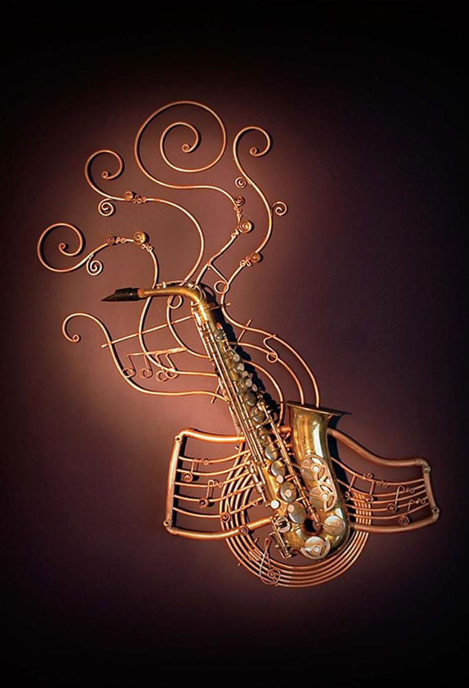 Wall sculpture made from a sax and formed copper tube.